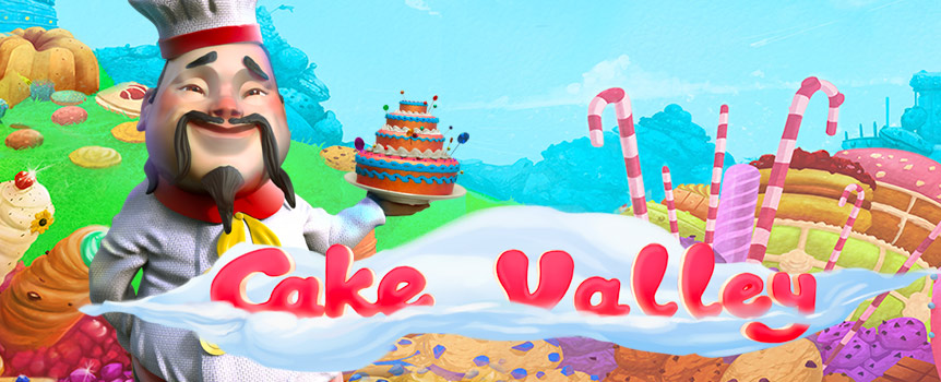 The moment you enter Cake Valley, you will enter the game's sweet design and layout, and no matter where you look there will be something to melt you away. The symbols are all made as sweet things, and you will see a red thread all throughout the game. the lower valued symbols are represented by the pink coated donut, the blueberry pancakes, the strawberry cheesecake, and the crème brûlée.