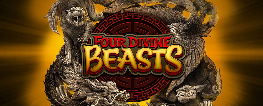 This is a game that introduces you to the four symbols, which represent four mythological beings from Chinese astrology. In the case of this game, they are better known as the Four Divine Beasts. You will, of course, meet these as symbols on the reels of this game. The four are The Azure Dragon of the East, the Vermilion Bird of the South, the White Tiger of the West and the Black Turtle of the North.