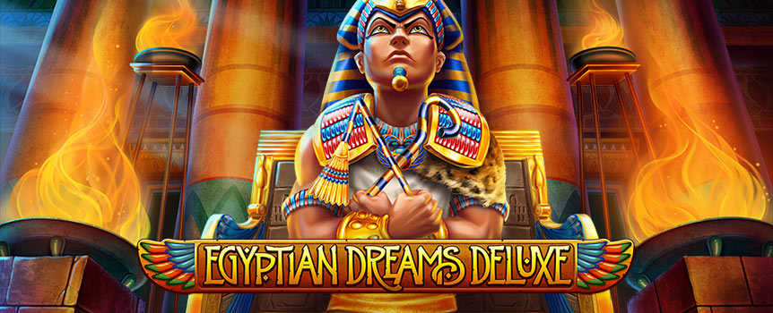 In Egyptian Dreams Deluxe, players travel to the land of the iconic pyramids – one of the seven wonders of the ancient world. Here you find all the familiar icons synonymous with this period in world history, that so often graces slot screens. Symbols include lucky scarab beetles, scorpions, a camel, an all-seeing eye, a sphinx, scrolls with hieroglyphics, a Nile cruiser, Cleopatra, and the pharaoh.