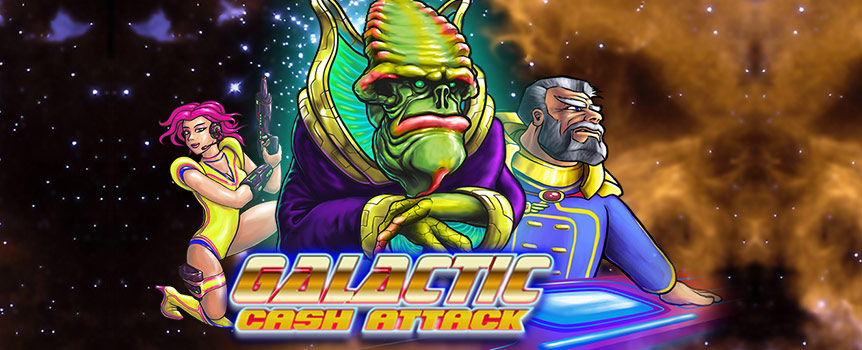 Galactic Cash Attack features five reels and four rows with the possibility of landing wins from impressive 50 paylines. Bet can be set by selecting the coin value to be played on each line.  All of this within your reach with only a press of a spin button. You can select between 10-500 paylines and at the same time you can opt to stop the auto play if free games feature is triggered, if your balance decreases or single win exceeds a certain amount, which you can determine as you like.