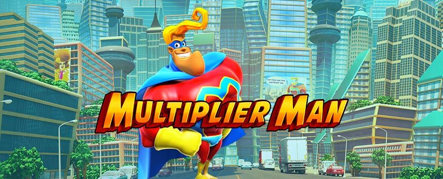 Fighting for bigger payouts, Multiplier Man is the superhero every slot player dreams of. Whether you're in free spins mode, playing a bonus round, or simply spinning the reels trying to land matching icons, Multiplier Man shows up with a purpose: to boost your chances of landing payouts.