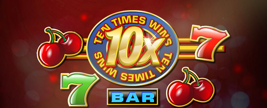 If you're looking for an old-school slot machine that serves up huge winnings, take a squizz at 10X Wins. It's the latest inventive take on traditional 3-reel slots, not to mention the highly anticipated sequel to 5X Wins. Adding a new twist to the action by doubling up the wild multiplier, the game's 10X Wins logo replaces any other symbol to form a winning line, multiplying payouts by 10X. That's not all, as three wilds in a row also lands you the massive $50,000 jackpot. Give it a burl for a chance to start raking in the moolah today.