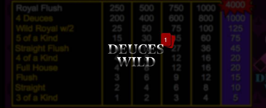 A draw poker game that starts with 5 cards dealt. Chose which cards to keep and discard the rest for new ones by pressing 'deal'. You win if you have a 3 of a kind or better. Get a special payout if you have a 5 of a kind, Wild Royal with 2s, or 4 Deuces. 2's are wild and can be used to make other winning hands. 5 of a kinds and Royal Flushes using a wild 2 get a special payout.