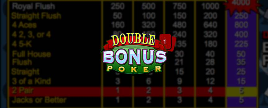 "Double Bonus Poker is a game of draw poker. The player receives five cards from the dealer; the player then chooses which of the cards to keep or ""hold"". Then discards the remaining cards for new ones by pressing deal. The final hand is determined a winning hand if the player has a pair of Jacks or better."